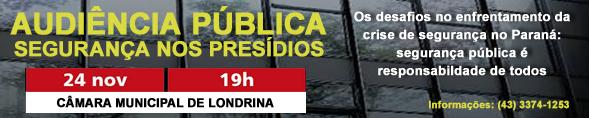 Audiência Pública - Segurança Pública Estadual - 24 de novembro - 19h - Câmara Municipal